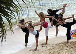 Yoga on the beach at Playa
